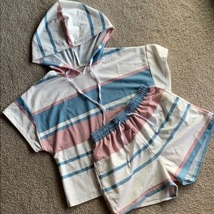 Willow Grace Co. Tops - Striped Hoodie Set